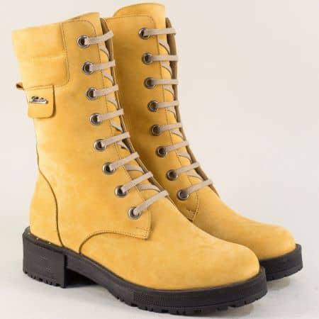 Жълти дамски боти от естествен набук на анатомично ходило 3005nj
