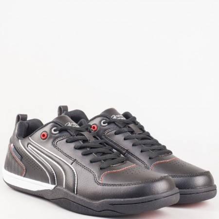Удобни мъжки спортни обувки за всеки ден в черно 30105-45ch
