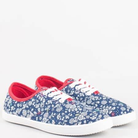 Дамски текстилни обувки с връзки и флорален принт в син цвят- GRAND ATTACK 301051s