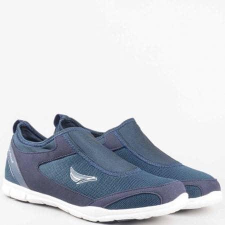 Мъжки маратонки без връзки на удобно ходило на Grand Attack в син цвят 30107-45s