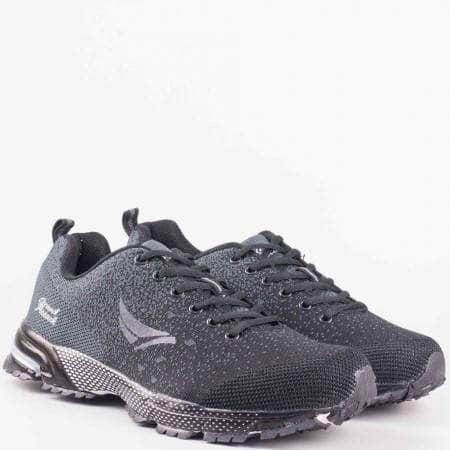 Мъжки маратонки с дишаща мрежичка и леко ходило на Grand Attack в черен цвят 30114-45ch