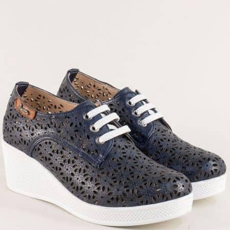 Тъмно сини дамски обувки с лазерна перфорация 13114810ts
