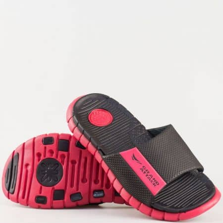 Мъжки джапанки на гъвкаво комфортно ходило от висококачествен гумен материал в червено и черно 30116-45chv
