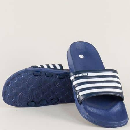 Сини мъжки джапанки с бели ленти на равно ходило 30120-45s