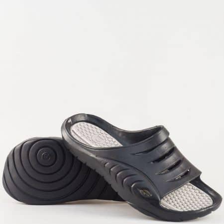 Мъжки джапанки от висококачествен гумен материал в черен цвят 30128-45ch