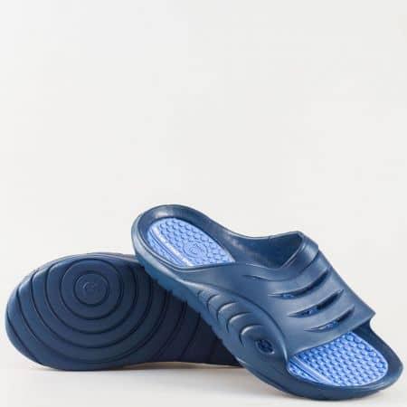 Мъжки джапанки на масажиращо комфортно ходило от висококачествен гумен материал в син цвят 30128-45s