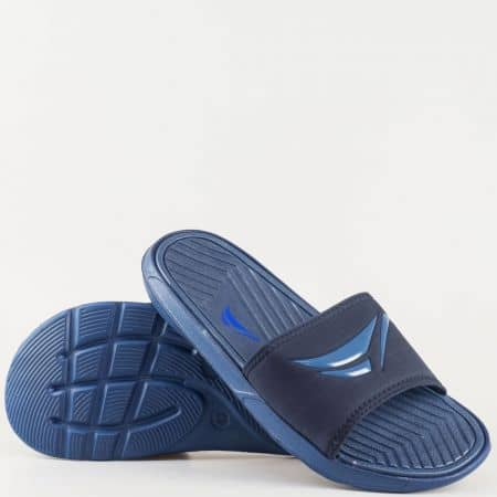 Мъжки комфортни джапанки от висококачествен текстил и гума в син цвят 30135s
