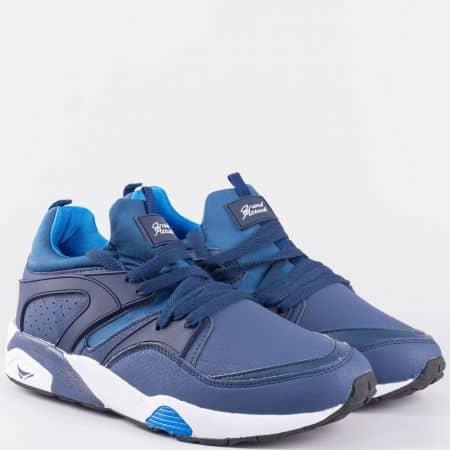 Спортни мъжки обувки с връзки- GRAND ATTACK в син цвят 30156-45s