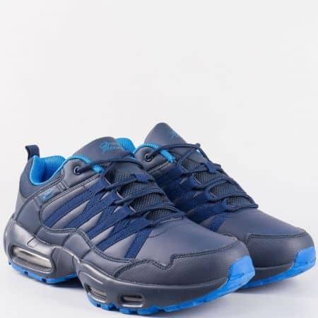 Семпли мъжки маратонки в син цвят с връзки- Grand Attack с въздушна камера 30157-45s
