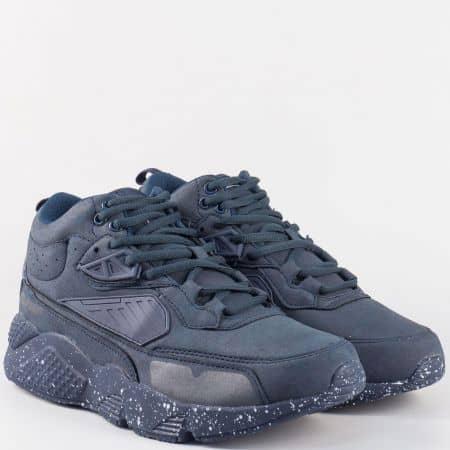 Мъжки тъмно сини спортни обувки с връзки- Grand Attack 30160-45s