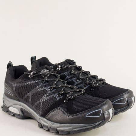 Черни мъжки маратонки на равно и комфортно ходило с връзки 30191-45ch