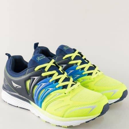 Модерни мъжки маратонки GRAND ATTACK в син и жълт цвят 30192-45s