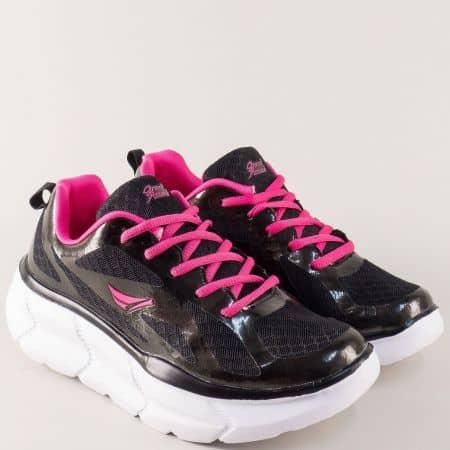 Дамски маратонки в черно на удобна платформа 30195-40ch