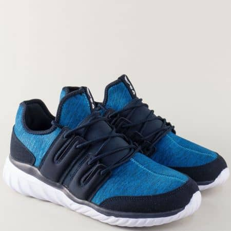 Сини мъжки маратонки на комфортно ходило с мемори пяна 30201-45s