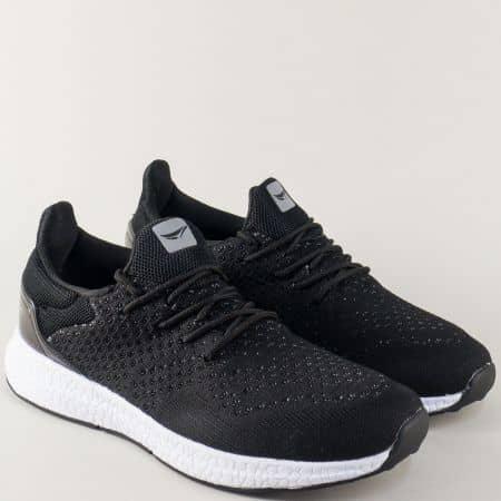 Мъжки маратонки GRAND ATTACK на равно ходило в черен цвят 30202-45ch