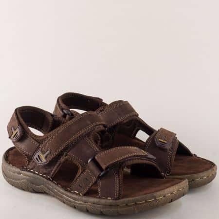 Тъмно кафяви мъжки сандали на комфортно ходило 30206kk