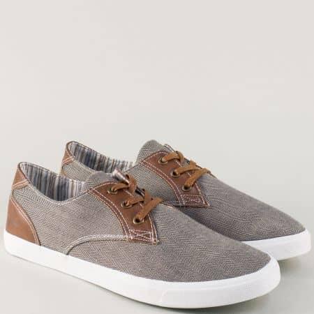 Спортни мъжки обувки с връзки на равно ходило 30211-45k