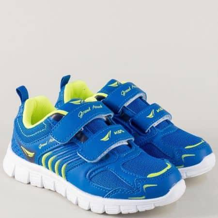 Удобни детски маратонки на равно и комфортно ходило в син цвят 30215-30s