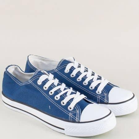 Дамски кецове в син цвят на равно и удобно ходило 30234-40s