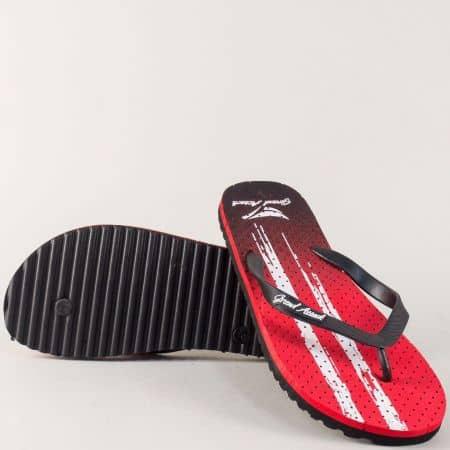 Мъжки джапанки в черен и червен цвят на равно ходило 30239chv