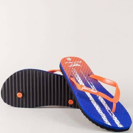 Комфортни мъжки джапанки в син и цвят оранж 30239s