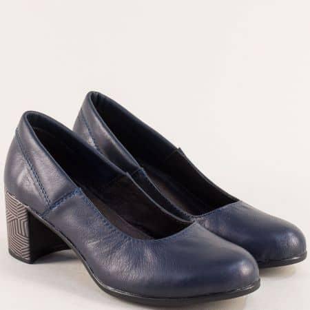 Сини дамски обувки от естествена кожа на ефектен ток 302527s