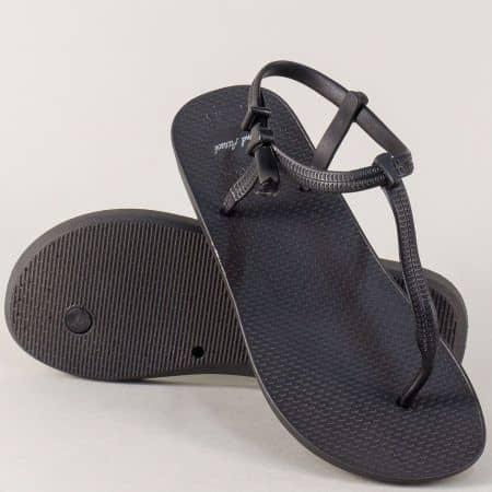 Дамски сандали на равно и комфортно ходило в черен цвят 30254ch