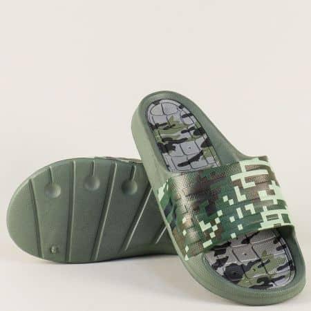 Зелени мъжки джапанки на комфортно равно ходило 30262z