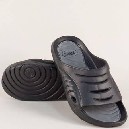 Дамски джапанки в сив и черен цвят на удобно ходило 30269sv