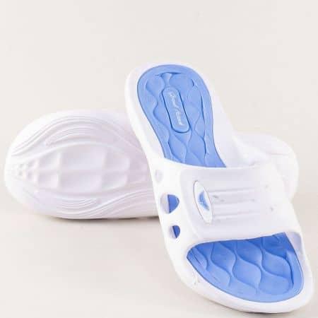 Дамски джапанки в синьо и бяло с цяла лента 30273-40bs