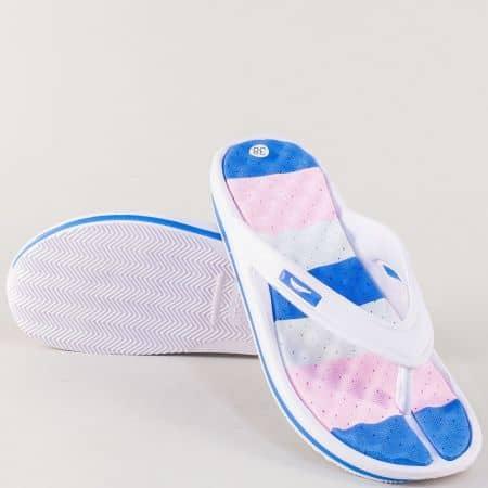 Дамски джапанки между пръстите в синьо, бяло и розово на комфортно ходило 30276s
