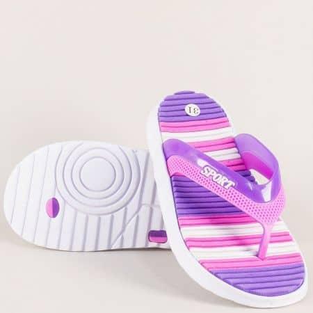 Детски джапанки в бяло, розово и лилаво- GRAND ATTACK 30282l