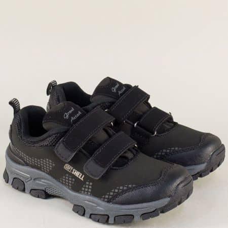 Детски маратонки с лепки в сиво и черно- GRAND ATTACK 30291-35ch