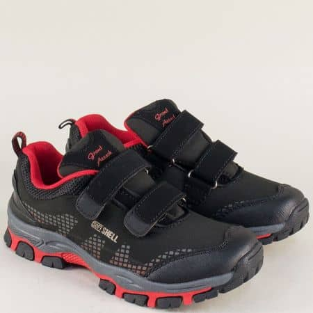 Детски маратонки с две лепки в червено и черно 30291-35chchv