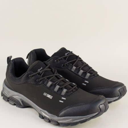 Мъжки маратонки в черно на ранво ходило с връзки 30292-49ch