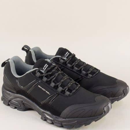Черни мъжки маратонки на стабилно ходило и практични връзки 30293-45ch