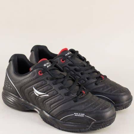 Мъжки маратонки в черно на равно и комфортно ходило с връзки 30297-45ch