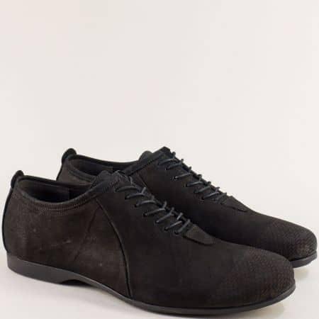 Черни мъжки обувки от естествен набук с кожена стелка 3030nch