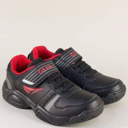 Черни детски маратонки с лепка и връзки- GRAND ATTACK 30312-35ch