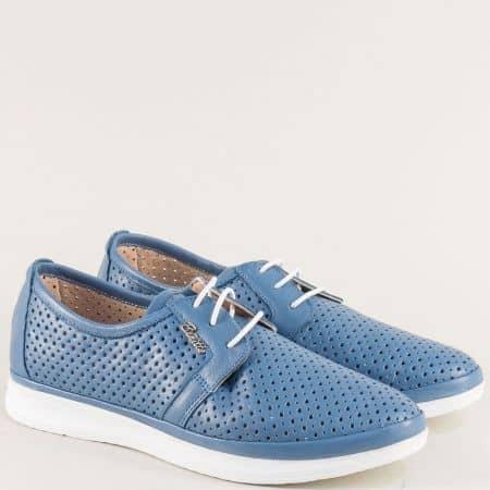 Перфорирани дамски обувки с кожена стелка в син цвят 30314202s