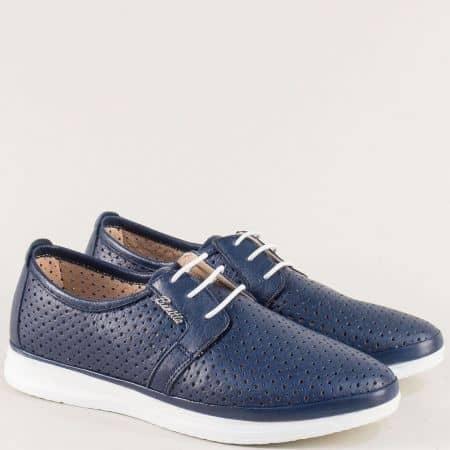 Тъмно сини дамски обувки с връзки на равно ходило 30314202ts
