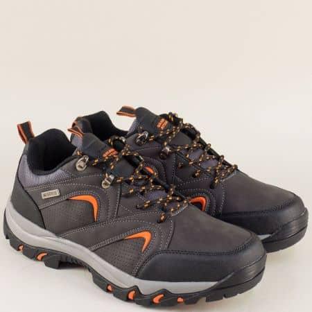 Сиви мъжки маратонки с връзки на стабилно ходило 30316-45sv