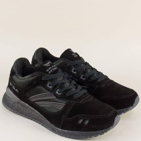 Черни мъжки маратонки от велур на комфортно и стабилно ходило 30318-45vch
