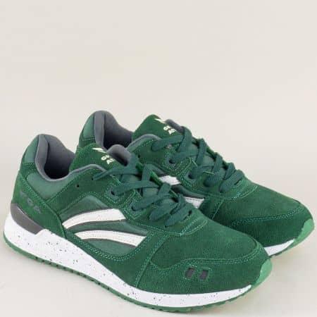 Зелени мъжки маратонки с връзки на равно стабилно ходило 30318-45vz