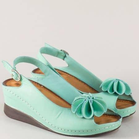 Анатомични дамски сандали на платформа в зелен цвят 3031z