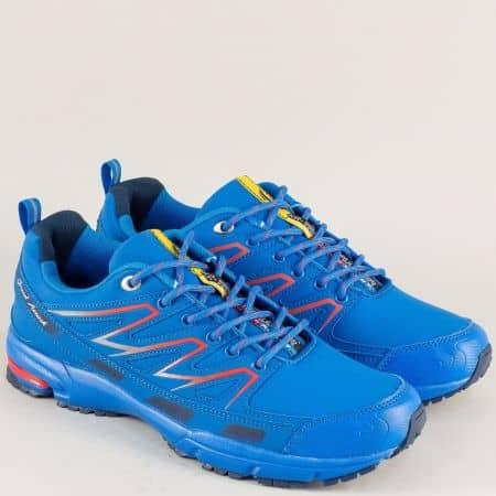 Сини мъжки маратонки с връзки на равно ходило 30329-45s