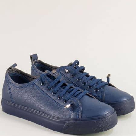 Дамски кецове в син цвят на равно и меко ходило 30381-40s