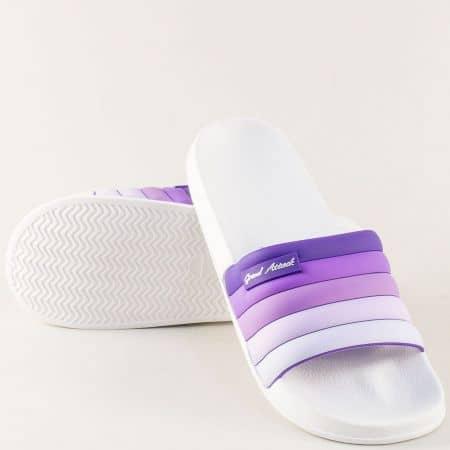 Дамски джапанки в бяло и лилаво- GRAND ATTACK 30395l