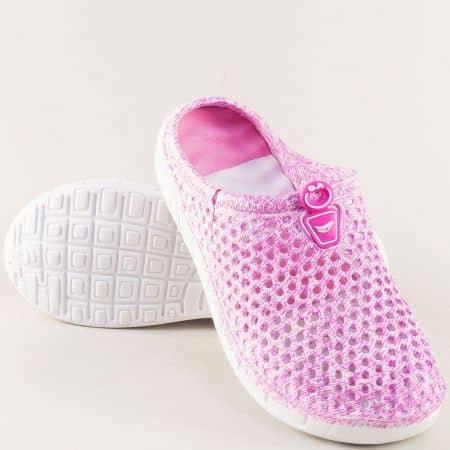 Дамски чехли със затворени пръсти в розов цвят 30399rz