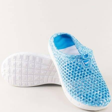 Дамски чехли със затворени пръсти в син цвят 30399s